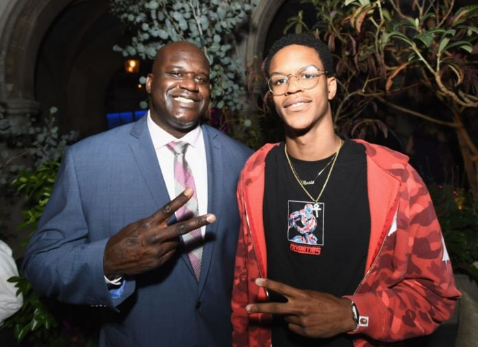 WEST HOLLYWOOD, CA - AUGUST 07: Former NBA player Shaquille O'Neal (L) and son Shareef O'Neal at Apple Music Launch Party Carpool Karaoke: The Series with James Corden on August 7, 2017 in West Hollywood, California. (Photo by Emma McIntyre/Getty Images for Apple) thegrio.com