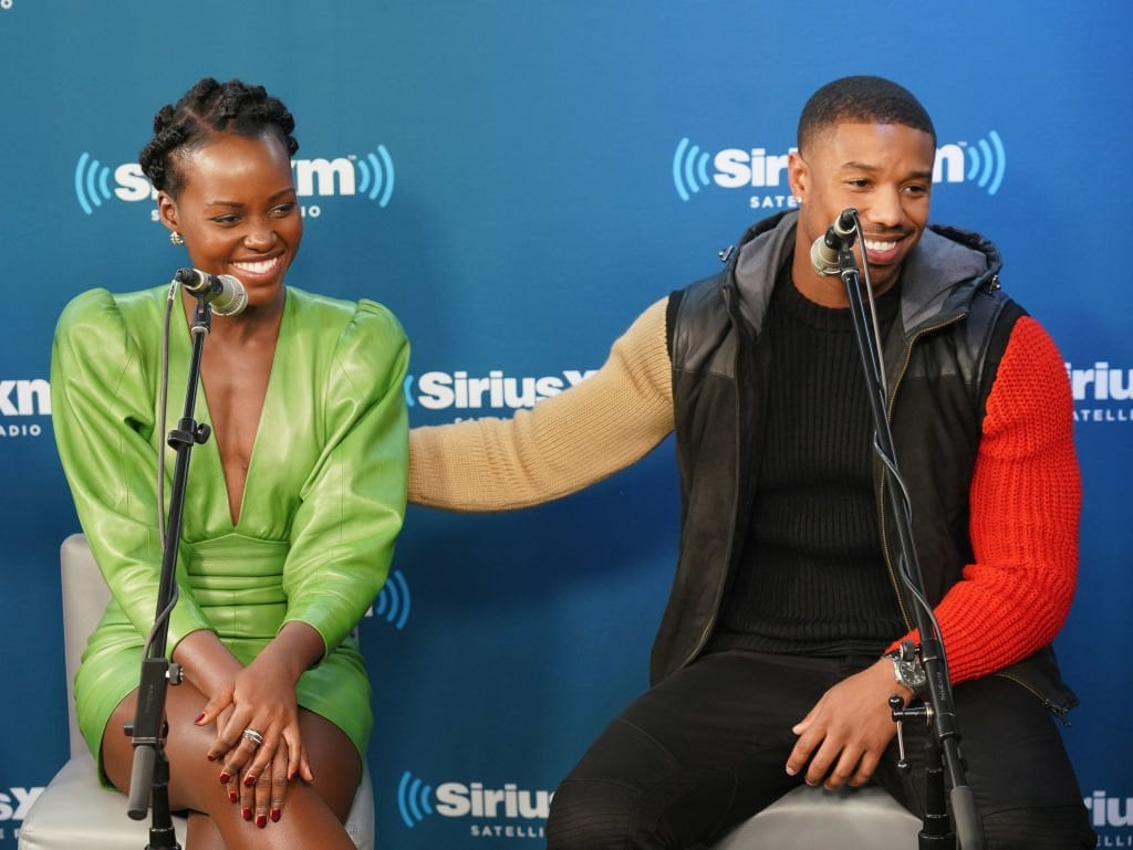 a5bd5dae89b NEW YORK, NY - FEBRUARY 13: Lupita Nyong'o and Michael B. Jordan take part  in SiriusXM's Town Hall with the cast of Black Panther hosted by SiriusXM's  Sway ...
