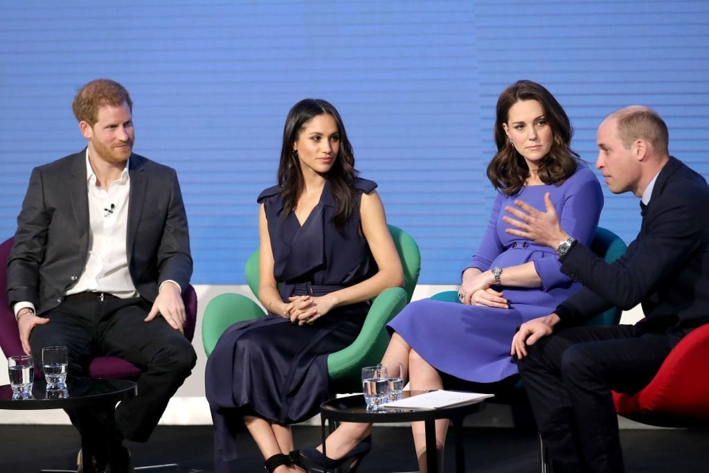 LONDON, ENGLAND - FEBRUARY 28: Prince Harry, Meghan Markle, Catherine, Duchess of Cambridge and Prince William, Duke of Cambridge attend the first annual Royal Foundation Forum held at Aviva on February 28, 2018 in London, England. Under the theme 'Making a Difference Together', the event will showcase the programmes run or initiated by The Royal Foundation. (Photo by Chris Jackson - WPA Pool/Getty Images) thegrio.com