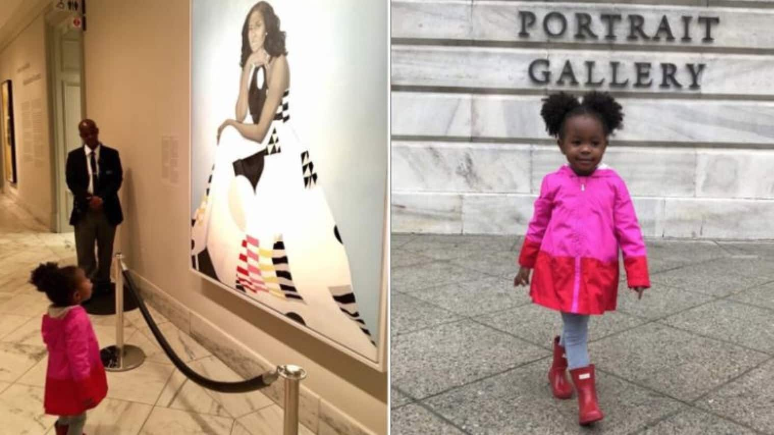 Young girl stands awestruck in front of Michelle Obama portrait