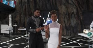 Chadwick Boseman and Letitia Wright in Black Panther thegrio.com