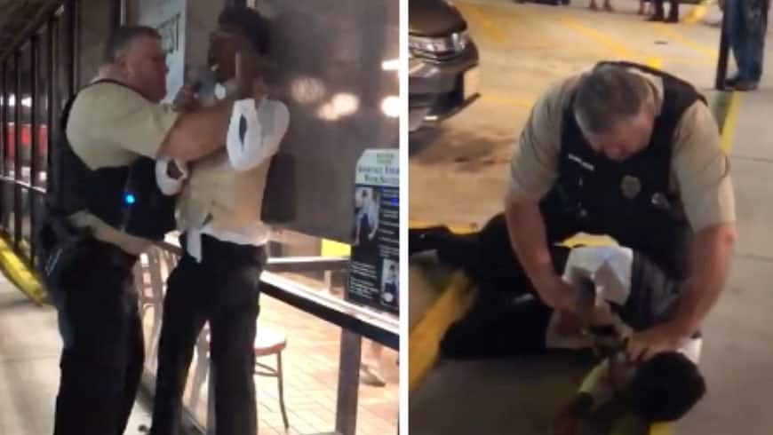 Policeman chokes, slams a black man outside a Waffle House