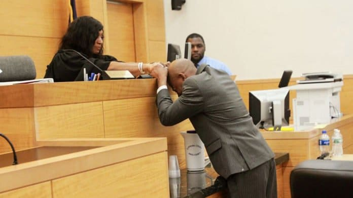John Bunn cries after being exonerated by Supreme Court Justice Shawn'Dya Simpson for murder he didn't commit 17 years ago and was framed by police thegrio.com