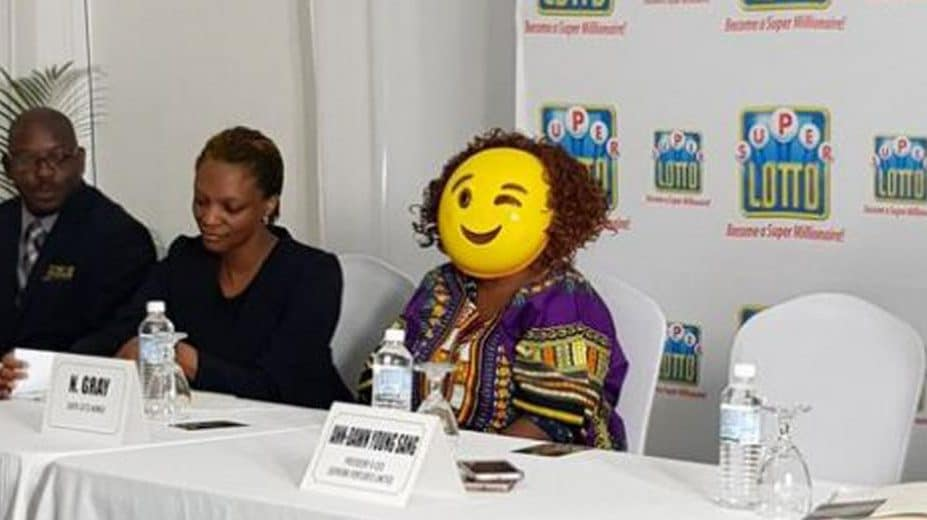0d7506744c26 Jamaican Super Lotto winner goes viral after picking up her check in  hilarious disguise