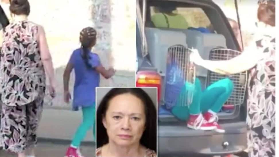 Grandma arrested for driving with kids in dog kennels