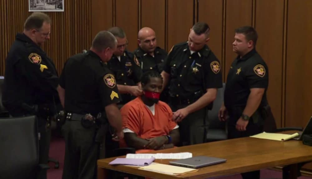 Judge orders defendant's mouth taped shut during sentencing