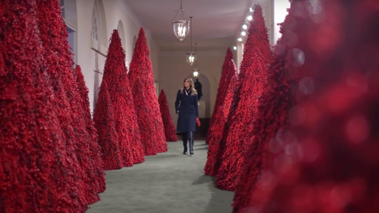 Melania Trump decorated the White House with a forest of red trees