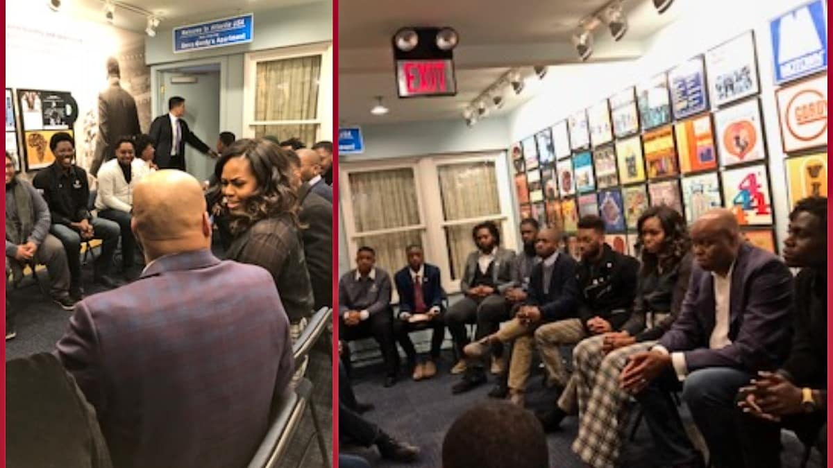 EXCLUSIVE: MichelleObama makes a surprise visit to a group of lucky young men in the Motor City
