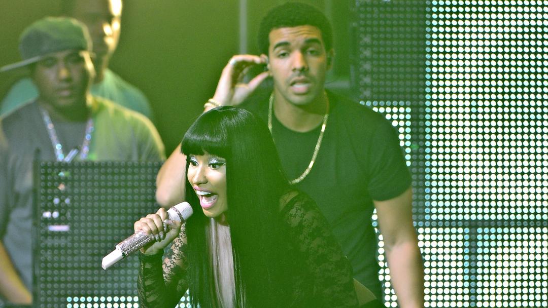 690d9ea02def4 Drake and Nicki Minaj perform at Pepsi Presents Nicki Minaj's Pink Friday  Tour at Roseland on August 14, 2012 in New York City.