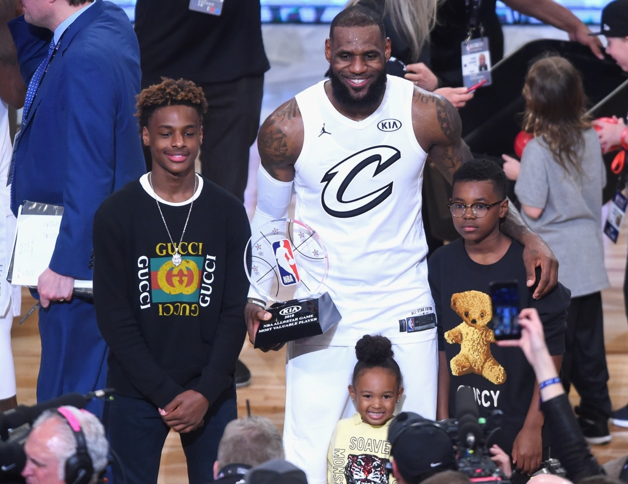 huge discount 92f26 a18e3 LeBron James Jr Surprises dad with wearing his jersey number ...