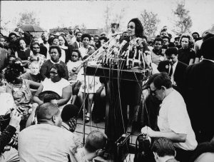 American civil rights campaigner, and widow of Dr. Martin Luther King Jr., Coretta Scott King (1927 - 2006) addresses the assembled crowd during the 'Poor People's March,' Washington, DC, 1968. The March to spotlight the needs of the impoverished began in Mississippi on April 22d and arrived in Washington on May 14th. The participants camped downtown and demonstrated every day until June 24th. (Photo by Hulton Archive/Getty Images) thegrio.com
