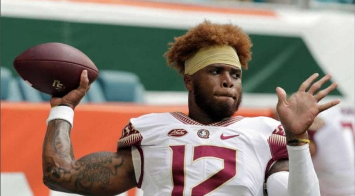 In this Saturday, Oct. 6, 2018, file photo, Florida State quarterback Deondre Francois (12) warms up before an NCAA college football game against Miami, in Miami Gardens, Fla. Florida State head football coach Willie Taggart announced Sunday, Feb. 3, 2019, that Francois has been dismissed from the team after allegations of domestic abuse surfaced. (AP Photo/Lynne Sladky, File) thegrio.com