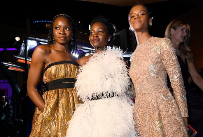 Danai Gurira, Lupita Nyong'o, and Letitia Wright attend the 91st Annual Academy Awards Governors Ball at Hollywood and Highland on February 24, 2019 in Hollywood, California. (Photo by Kevork Djansezian/Getty Images) thegrio.com