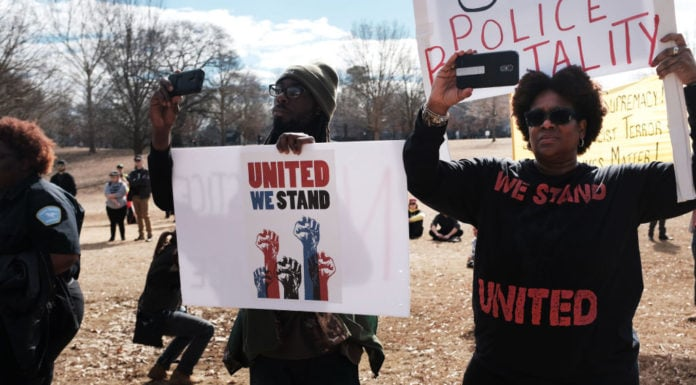 ATLANTA, GEORGIA - FEBRUARY 02: People attend an afternoon rally against racism on February 02, 2019 in Atlanta, Georgia. Alt-right and white supremacist groups had planned to hold a rally at Stone Mountain, a park celebrating confederate history, but backed out after officials closed the park with a heavy police presence. Atlanta is hosting Super Bowl LII between the Los Angeles Rams and New England Patriots on Sunday. (Photo by Spencer Platt/Getty Images) thegrio.com