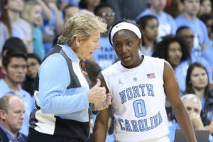 16 November 2014: UNC head coach Sylvia Hatchell (left) talks with Jamie Cherry (0). The University of North Carolina Tar Heels hosted the University of California Los Angeles Bruins at Carmichael Arena in Chapel Hill, North Carolina in a 2014-15 NCAA Division I Women's Basketball game. UNC won the game 84-68. (Photo by Andy Mead/YCJ/Icon Sportswire/Corbis via Getty Images) thegrio.com