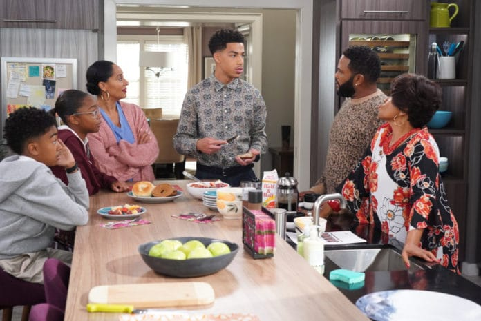 This image released by ABC shows, from left, Miles Brown, Marsai Martin, Tracee Ellis Ross, Marcus Scribner, Anthony Anderson and Jenifer Lewis in a scene from
