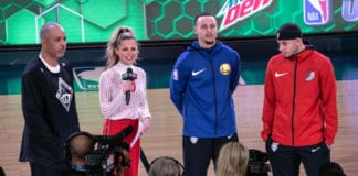 (L-R) Del Curry, Allie LaForce, Steph Curry and Seth Curry at the 2019 NBA All-Star Saturday Night on February 16, 2019 in Charlotte, North Carolina. (Photo by Jeff Hahne/Getty Images) thegrio.com