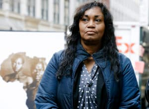 """In this March 20, 2019 file photo Tamara Lanier attends a news conference near the Harvard Club, in New York. Lanier, of Norwich, Conn., is suing the Harvard University for """"wrongful seizure, possession and expropriation"""" of images she says depict two of her ancestors. Descendants of a Harvard professor who commissioned a series of 1850 photos of slaves say they're backing the lawsuit against the university. (AP Photo/Frank Franklin II, File)"""