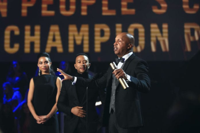 2018 E! PEOPLE'S CHOICE AWARDS -- Pictured: Activist Bryan Stevenson accepts the People's Champion Award on stage during the 2018 E! People's Choice Awards held at the Barker Hangar on November 11, 2018 -- NUP_185094 -- (Photo by Christopher Polk/E! Entertainment/NBCU Photo Bank via Getty Images)