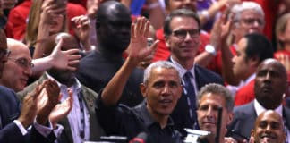 Former President of the United States, Barack Obama waves to the crowd during Game Two of the 2019 NBA Finals between the Golden State Warriors and the Toronto Raptors at Scotiabank Arena on June 02, 2019 in Toronto, Canada. NOTE TO USER: User expressly acknowledges and agrees that, by downloading and or using this photograph, User is consenting to the terms and conditions of the Getty Images License Agreement. (Photo by Gregory Shamus/Getty Images)