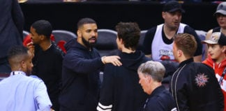 Drake and Shawn Mendes meet during Game Two of the 2019 NBA Finals between the Golden State Warriors and the Toronto Raptors at Scotiabank Arena on June 02, 2019 in Toronto, Canada. NOTE TO USER: User expressly acknowledges and agrees that, by downloading and or using this photograph, User is consenting to the terms and conditions of the Getty Images License Agreement. (Photo by Vaughn Ridley/Getty Images)