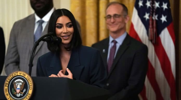 "Kim Kardashian West speaks during an East Room event on ""second chance hiring"" June 13, 2019 at the White House in Washington, DC. President Donald Trump held the event to highlight the achievements on Second Chance hiring and workforce development. (Photo by Alex Wong/Getty Images)"