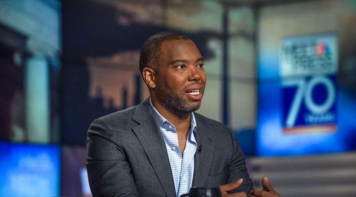 "Ta-Nehisi Coates National Correspondent, The Atlantic; Author, ?We Were Eight Years in Power? appears on ""Meet the Press"" in Washington, D.C., Sunday, Oct. 1, 2017. (Photo by: William B. Plowman/NBC/NBC NewsWire via Getty Images)"
