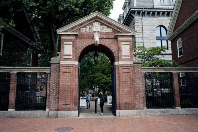 A general view of one of the many gates to the Harvard University Campus in the Boston suburb of Cambridge on August 31, 2018 in Boston MA. (Photo by Paul Marotta/Getty Images)