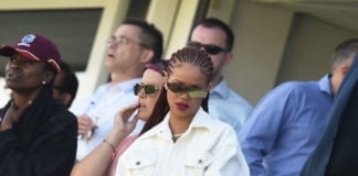 Singer Rihanna watches during the Group Stage match of the ICC Cricket World Cup 2019 between Sri Lanka and West Indies at Emirates Riverside on July 01, 2019 in Chester-le-Street, England. (Photo by Nathan Stirk/Getty Images)