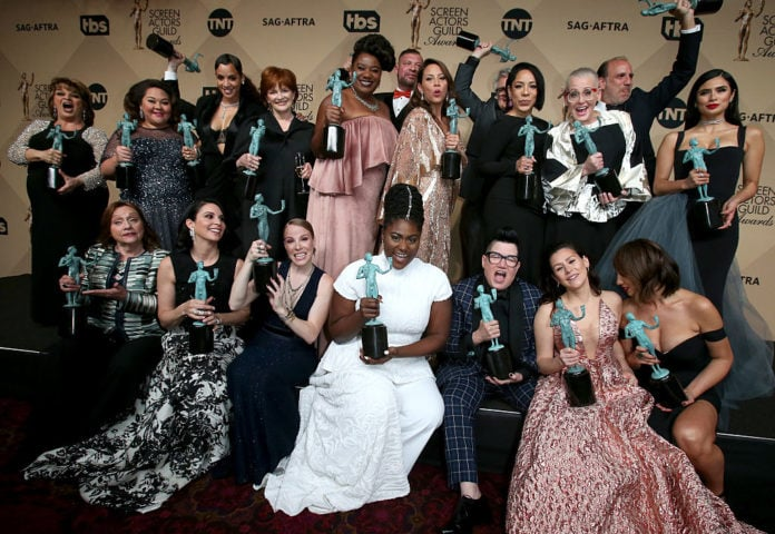 The cast of 'Orange Is The New Black' pose in the press room with their award for Outstanding Performance by an Ensemble in a Comedy Series at the 23rd Annual Screen Actors Guild Awards at The Shrine Expo Hall on January 29, 2017 in Los Angeles, California. (Photo by Dan MacMedan/WireImage)