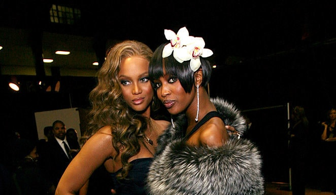 Models Tyra Banks and Naomi Campbell pose backstage during the 38th annual NAACP Image Awards held at the Shrine Auditorium on March 2, 2007 in Los Angeles, California. (Photo by Michael Buckner/Getty Images for NAACP)