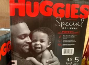 Huggies launched a new line of diapers featuring a Black father and baby. (Huggies)