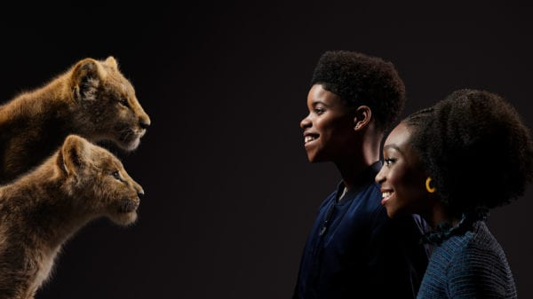Simba and JD McCrary and Nala and Shahadi Wright Joseph