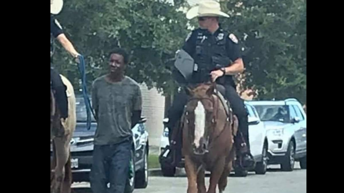 Family of man arrested and handcuffed with rope led by officers on horseback demand to see body camera video