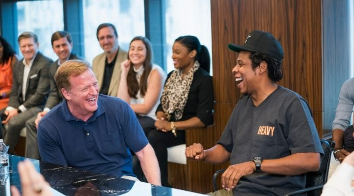 NFL Commissioner Roger Goodell, left, and Jay-Z appear at a news conference at ROC Nation on Wednesday, Aug. 14, 2019 in New York. The NFL and ROC Nation, Jay-Z's entertainment and sports representation company, announced Tuesday they were teaming up for events and social activism, a deal Jay-Z said had been in the works over the last seven months. (Ben Hider/AP Images for NFL) thegrio.com