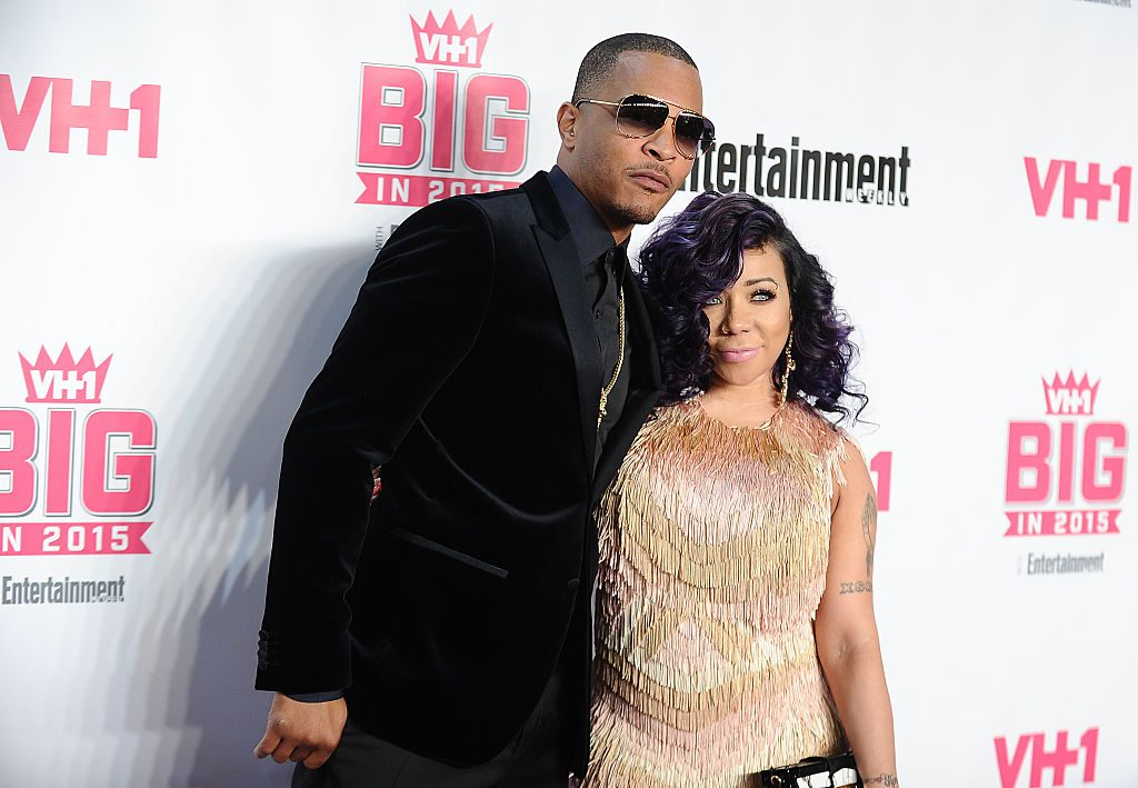 "WEST HOLLYWOOD, CA - NOVEMBER 15: Rapper T.I. and Tameka ""Tiny"" Cottle-Harris attend the VH1 Big In 2015 with Entertainment Weekly Awards at Pacific Design Center on November 15, 2015 in West Hollywood, California. (Photo by Jason LaVeris/FilmMagic)"