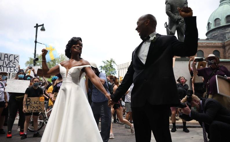 Philadelphia bride and groom join in George Floyd protest