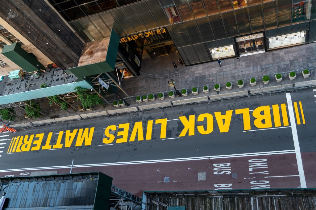 Black Lives Matter Mural Painted On Street In Front Of Trump Tower