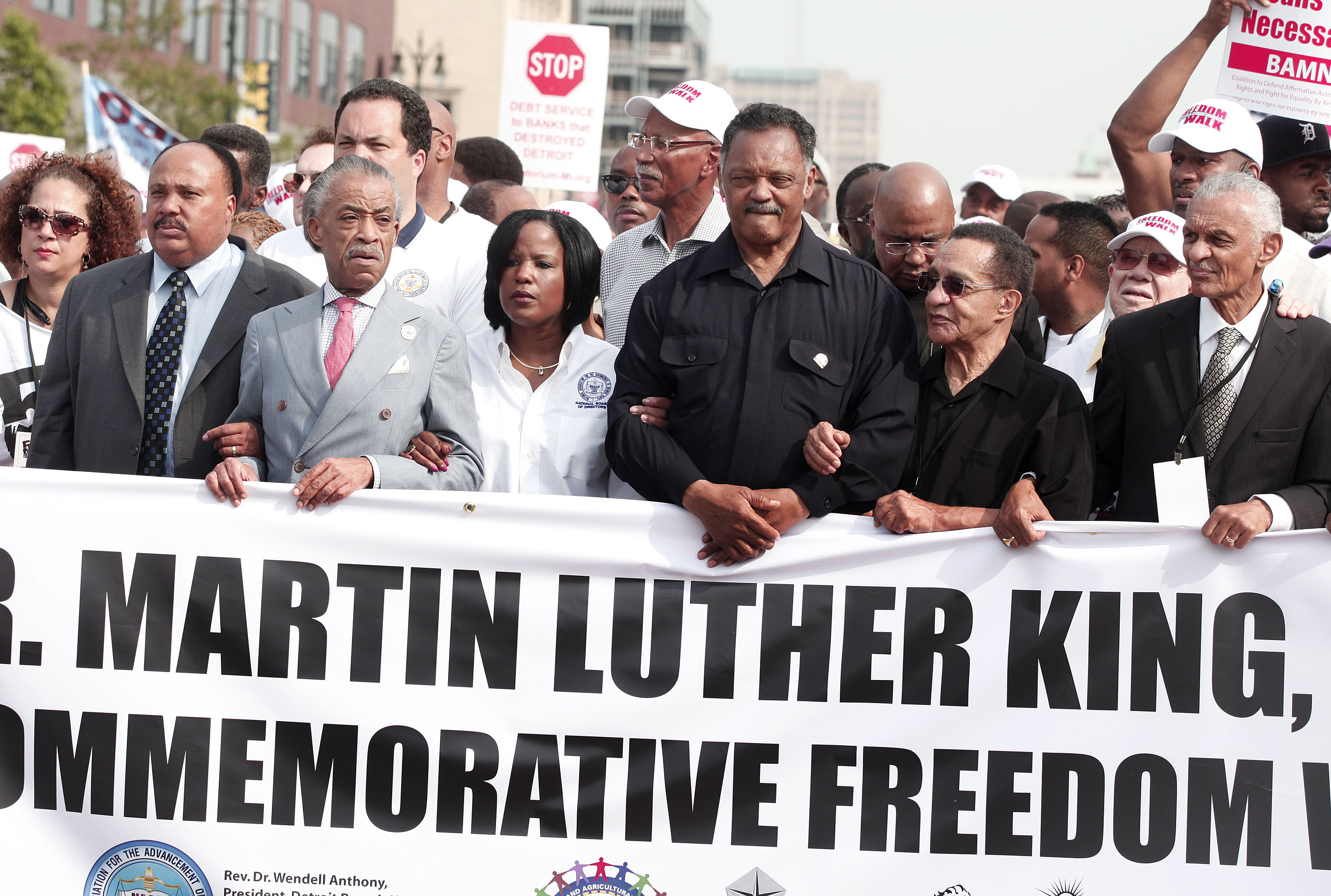 Marchers Commemorates 50th Anniversary Of MLK's Freedom March In Detroit