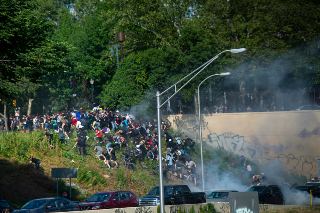 Philadelphia protesters are teargassed by police on June 1. Thegrio.com