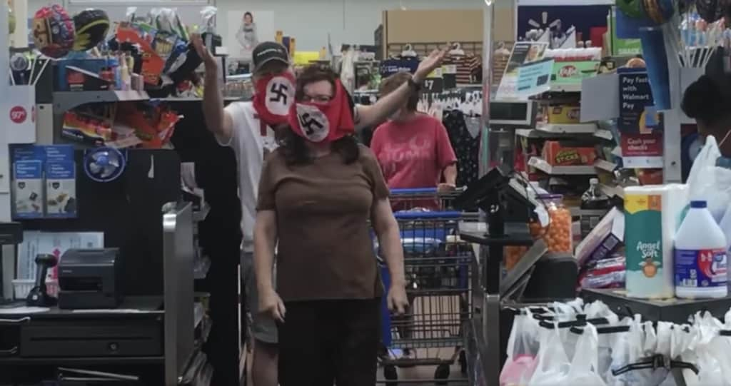 Walmart shoppers call couple 'sick' for wearing swastika masks
