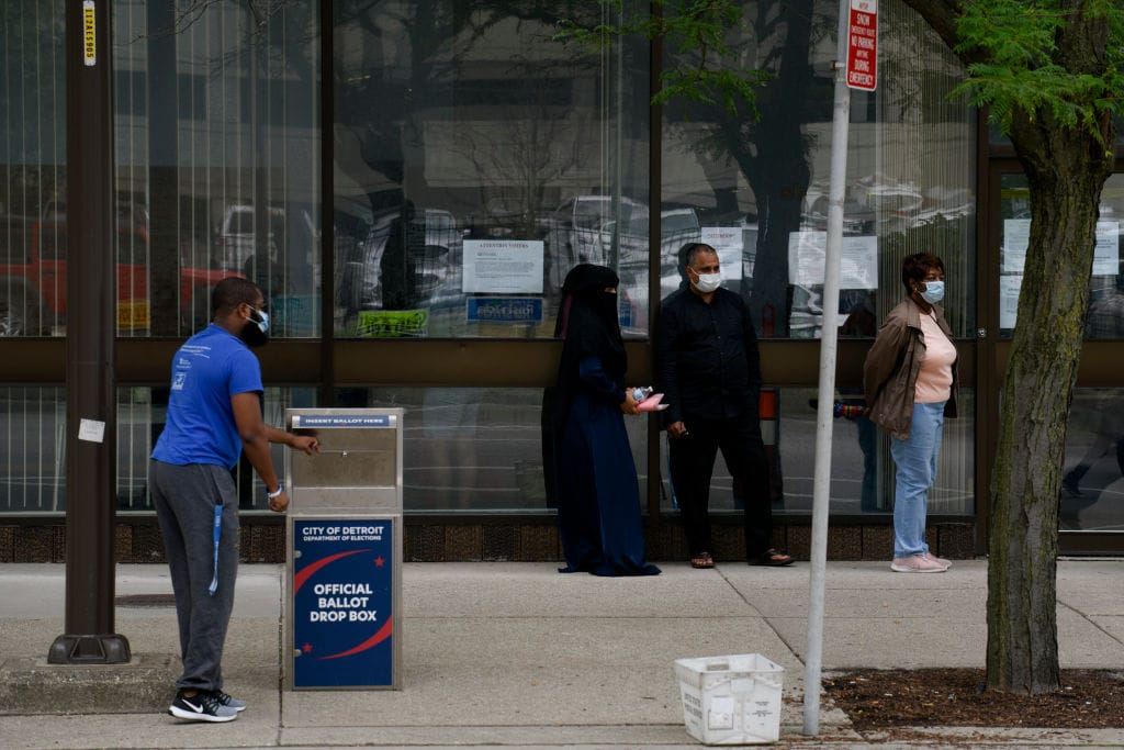 Michigan Voters Visit The Polls For State's Primary Election