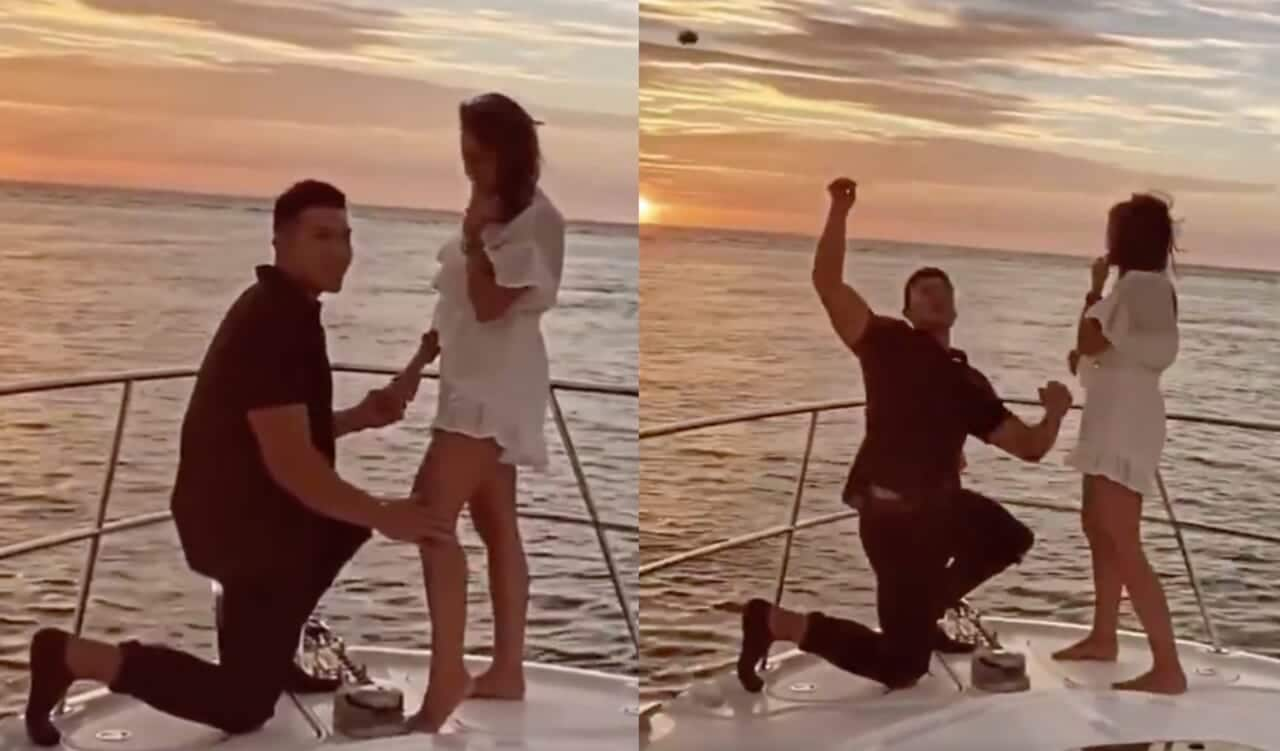 Viral boat proposal ends with ring in the ocean