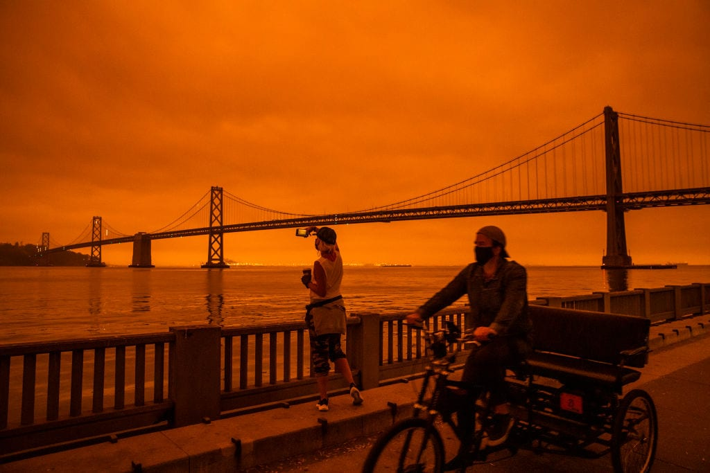 Wildfires Envelop San Francisco Bay Area In Dark Orange Haze