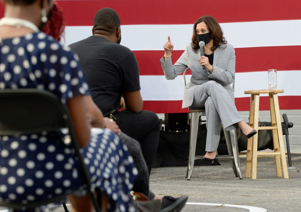 Democratic Vice Presidential Nominee Kamala Harris Campaigns In Raleigh