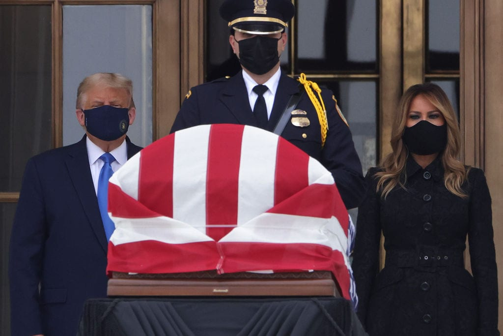 Crowd chants 'vote him out', boos Trump at court viewing of Ruth Bader Ginsburg casket - TheGrio
