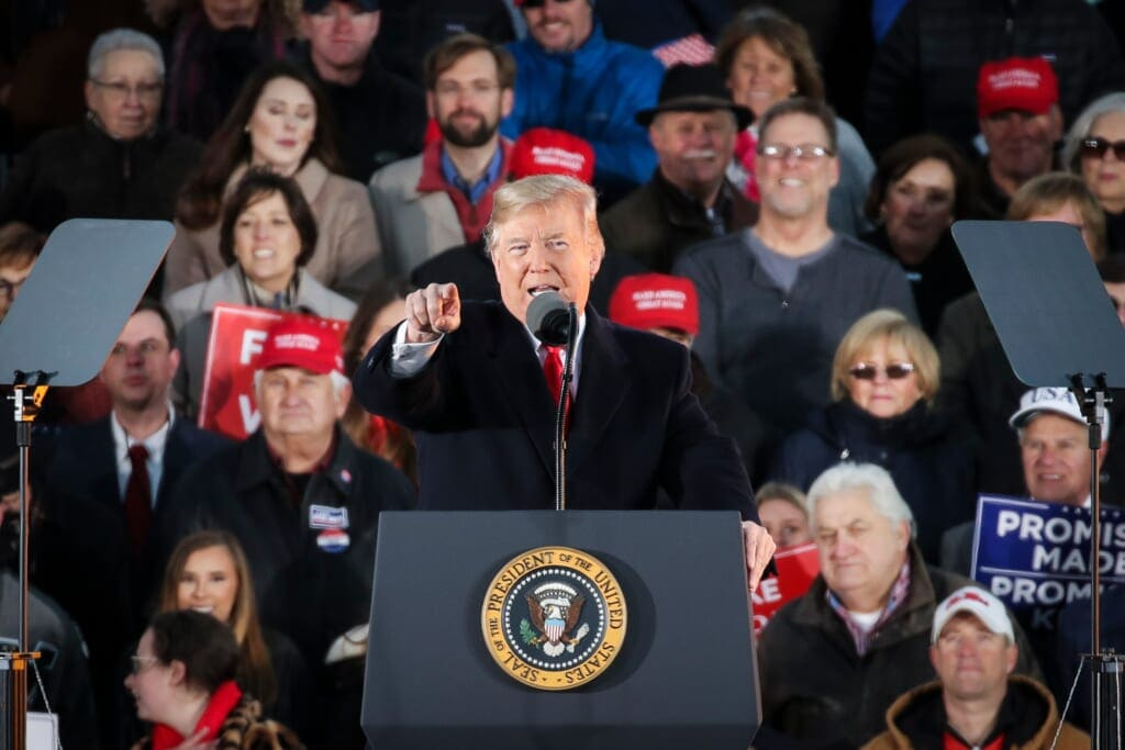 President Trump Holds Rally For Mississippi GOP Senate Candidate Cindy Hyde-Smith In Tupelo