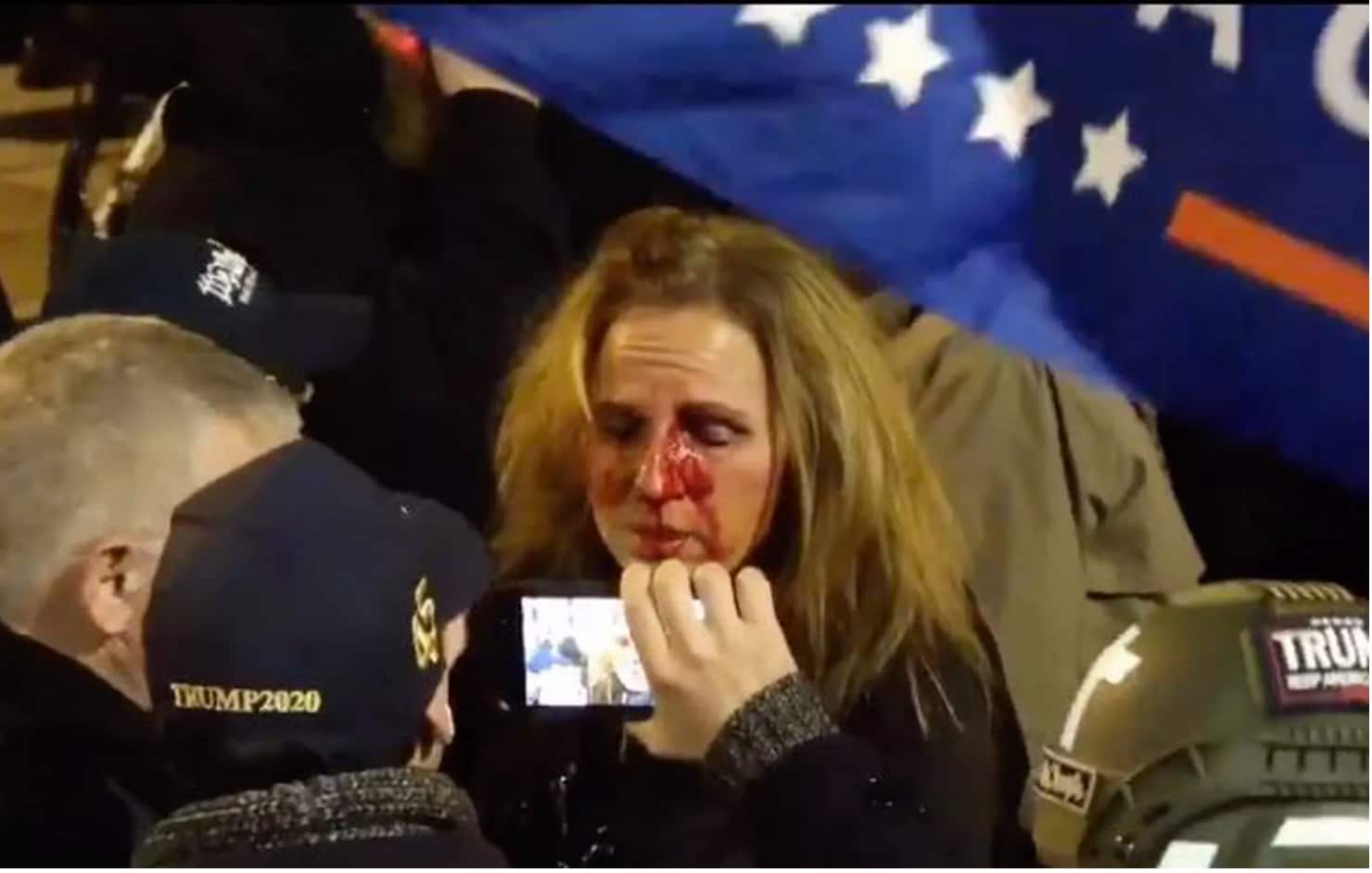 MAGA protester punched by Black security guard, exposed by daughter, arrested