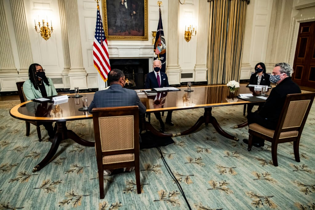 President Biden Participates In Roundtable Discussion On The American Rescue Plan