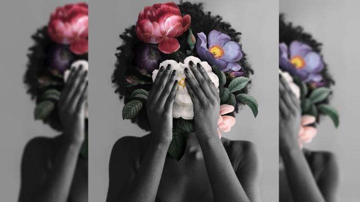 Black woman flowers art